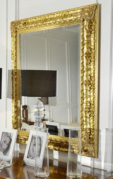 Specchiera specchio cornice legno rettangolare 82x102 - Specchio cornice oro ...