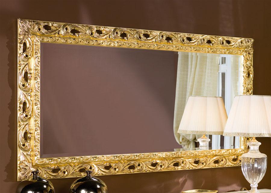 Specchiera rettangolare cornice legno 96x186 foglia oro o - Specchio cornice oro ...