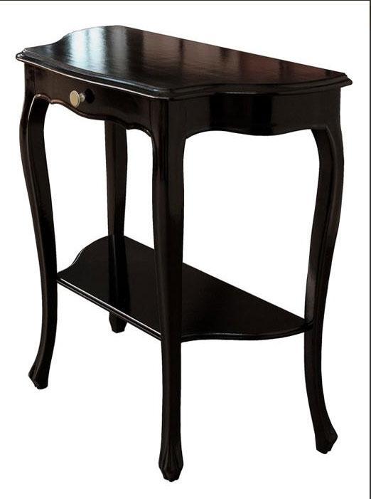Tavolino consolle in legno classica con cassetto e ripiano for Mobili neri