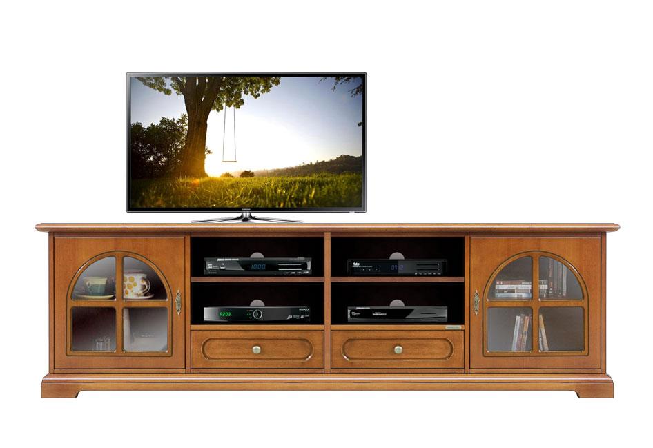 Porta Tv Lcd Classico Mobile In Legno Con Vetrine Cassetti E Vani Per Decoder Ebay