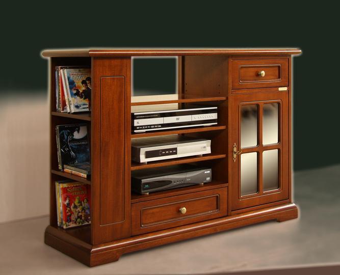 Tavolo mobiletto porta TV 1 cassetto 2 ripiani legno pino chiaro